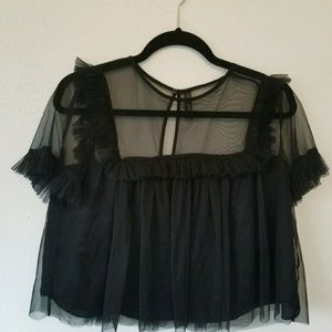 Zara Black Crop Top Keyhole back sheer